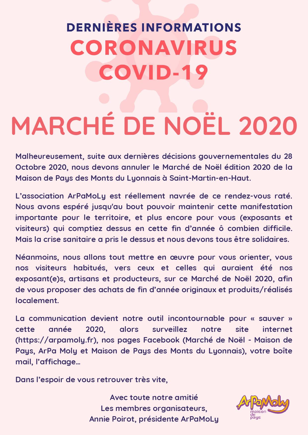 Covid 19 - Annulation du marché de Noël 2020
