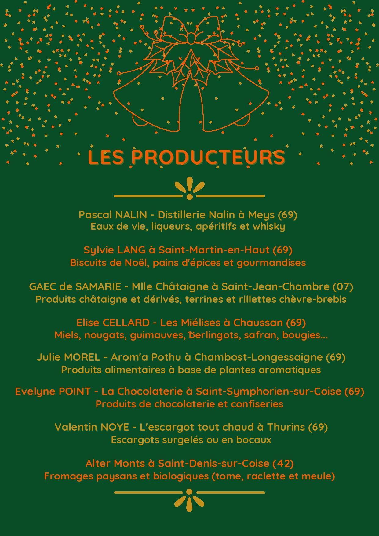 Liste des producteurs qui devaient être présents au Marché de Noël 2020