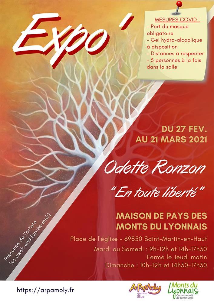 """Affiche Expo Odette Ronzon """"En toute liberté"""""""